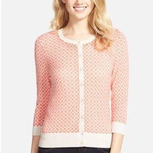 Halogen 3 Quarter Sleeve Pink Printed Cardigan